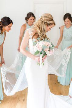 Dando London Bride Bridal Dress Gown Lace Plunge Straps Train Pastels Gold Pretty Summer Barn Wedding http://summerlilystudio.com/