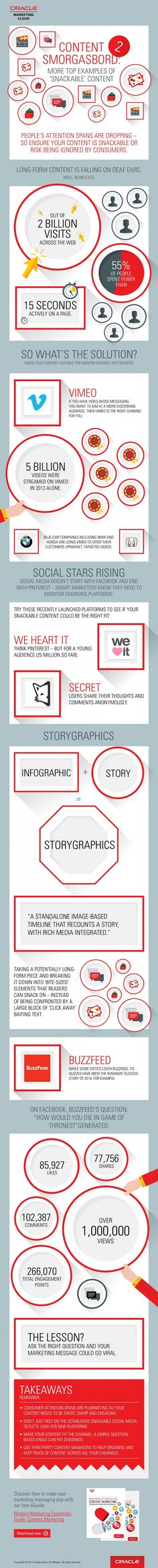 Tips for Driving Engagement with 'Snackable' Content - #ContentMarketing #infographic  (Nov., 2014)