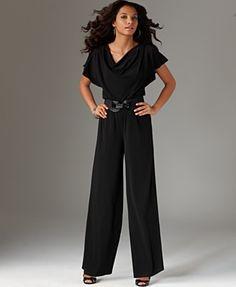 AGB Plus Size Jumpsuit, Flutter Sleeve Wide Leg Belted - Plus Size Pants - Plus Sizes - Macy's