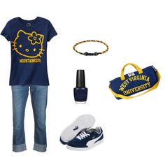 Hello Kitty WVU, created by missy5978 on Polyvore