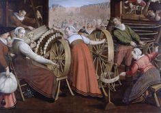 Isaac Claesz. van Swanenburg - 1595 painting illustrating Leiden textile workers - Spinning (textiles) - Wikipedia, the free encyclopedia