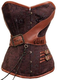 This really eccentric brown brocade corset will keep you looking stylish in any Steampunk or Victorian era setting.  Beautiful detailing with brown faux leather and detailing including belts, straps, and buckles.