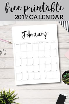 Free Printable 2019 Calendar Template Pages. January February March April May June July August September October November December. Free Calender, Free Monthly Calendar, February Calendar, Calendar Pages, Calendar 2019 Planner, Weekly Planner, Monthly Planner Printable, Desk Calendars, Budget Planner