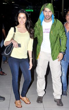 Varun Dhawan and Shraddha Kapoor at Mumbai airport. #Bollywood #Fashion #Style #Beauty #Handsome