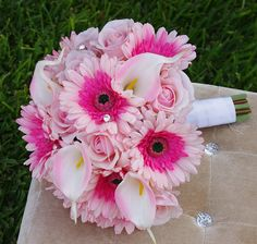 Wedding Natural Touch Pink Gerberas, Roses and Calla Lilies Silk Flower Bride Bouquet - Almost Fresh
