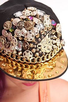 Black Multi Charm Studded Snap Back Hat   Amiclubwear Hat Online Store  Women s  Hat 532563b30da7
