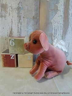 Vintage Velvet Pig Pegasus!: vintage style, soft sculpture, hand painted, fabric art doll animal (Pig, piglet) by Pennybright Studios.
