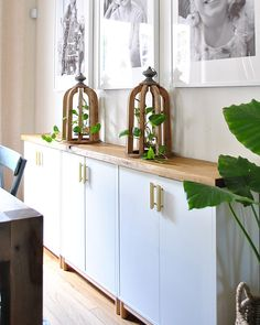 Ikea cabinets into a sideboard Turn simple Ikea cabinets into a dining area sideboard with this tutorial.Turn simple Ikea cabinets into a dining area sideboard with this tutorial. Ikea Dining Room, Dining Room Storage, Dining Room Buffet, Dining Room Design, Dining Area, Ikea Living Room Furniture, Living Rooms, Ikea Furniture Hacks, Ikea Hacks