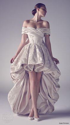 ashi studio couture 2015 off the shoulder bubble hem luxurious high low mullet dress More