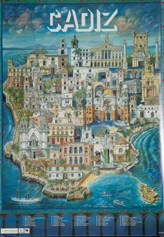 Cádiz is the oldest city in western Europe and has a rich cultural heritage Retro Illustration, Illustrations, Cadiz Spain, Poster City, Tourism Poster, Photo Vintage, Vintage Travel Posters, Spain Travel, Poster Prints