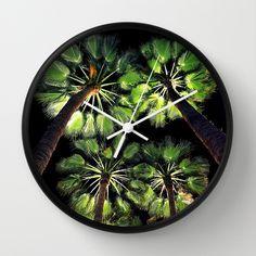 Palm Trees Night Walk Wall Clock #palmtrees #nature #photography #tropical #night #trees #island #nightshot #perspective #beachy #coastal #beach #california #cali #green #light #wallclock #clock #time #wallart