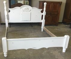 Here is a huge King Size bed. This piece is perfect for that bedroom makeover you have been waiting to do. What do you think? SOLD!! for $375 rest.com/shabbychictexas/my-shabby-chic-beds/