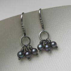 Silver Grey Freshwater Pearl Earrings @Linda Klabunde, $55.00