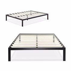 Zinus Modern Studio 14 Inch Platform 3000 Metal Bed Frame/Mattress Foundation, No Boxspring Needed, Wooden Slat Support, Queen  The extra strength steel framed Platform Bed 3000 by Zinus features wooden slats that provide strong support for your memory foam, latex, or spring mattress. 14 inches high with 12 inches of clearance under the frame for plenty of under bed storage. Openings in two of the legs allow for attaching a headboard to this Platform bed. The Modern Studio Platform Bed…