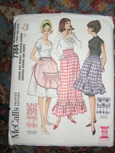 Vintage McCalls Pattern 7384 Aprons and Skirt Smocking 1964 Vintage Apron Pattern, Retro Apron, Aprons Vintage, Vintage Sewing Patterns, Pattern Sewing, Mccalls Patterns, Apron Patterns, Modern Aprons, Sewing Aprons