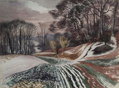 Landscape Paintings and photographs Picture Description Winter Evening, Wormingford by John Northcote Nash exhib. Watercolor Landscape, Landscape Art, Landscape Paintings, John Nash, Winter Art, Painting Inspiration, Painting & Drawing, Modern Art, Printmaking