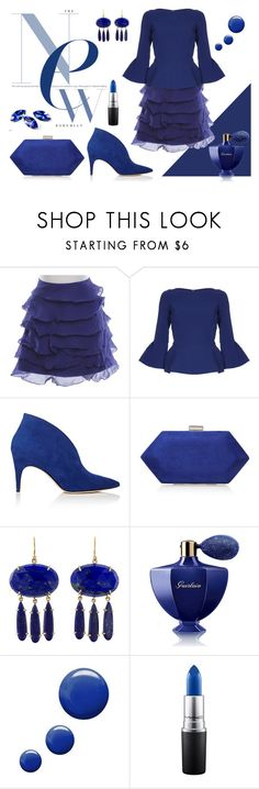"""Deep Blue."" by suzieis53 ❤ liked on Polyvore featuring Karen Millen, Safiyaa, Derek Lam, Miss KG, Irene Neuwirth, Guerlain, Topshop and MAC Cosmetics"