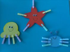 Clothespin sea creatures too cute. maybe add numbers and have to add correct number of clothespins? Motor Skills Activities, Animal Activities, Fine Motor Skills, Preschool Activities, The Ocean, Finger Gym, Under The Sea Theme, Classroom Crafts, Sea Creatures