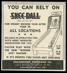 1955 Skee Ball coin-op arcade game machine art Philadelphia Toboggan trade ad | eBay