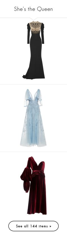 """She's the Queen"" by infantilejoy ❤ liked on Polyvore featuring dresses, gowns, reem acra, silk dress, glamorous evening dresses, ruched gown, embroidered tulle gown, embellished gown, blue and blue embroidered dress"
