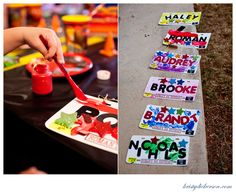 @Arreal Henderson...making your own license plates at a malt shop/pit stop theme