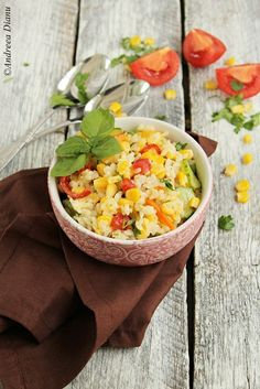 Salata de orez cu porumb   Pasiune pentru bucatarie