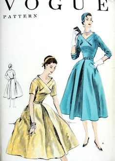 1950s BEAUTIFUL Party Cocktail Evening Dress Pattern VOGUE 8538 Lovely design Bust 34 Vintage Sewing Pattern FACTORY FOLDED