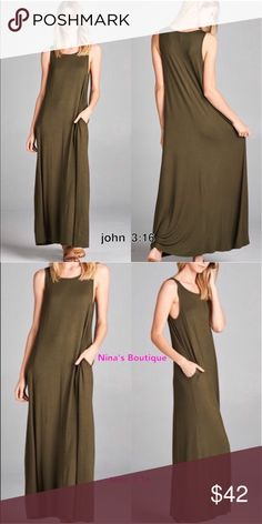 Olive Maxi Maxi tank dress with side hidden pockets   ✔️Made in the USA ✔️93% rayon 5% spandex - great quality ✔️Small bust 34 / length 50 ✔️Medium bust 36 / length 50 Dresses Maxi