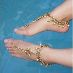 Gold Jeweled Kundan Barefoot Sandals Wedding Bride Bohemian Gypsy Sandals Bohemian Boho Grecian Bollywood Beach Wedding Vacation sandals