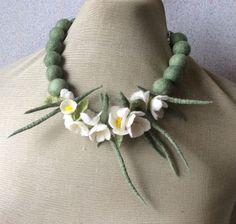Romantic handmade flowers necklace Blossoms felt necklace