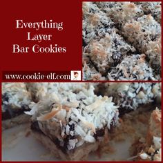 Everything Layer Bar Cookies: ingredients, directions, and special baking tips from The Elf to this easy bar cookie recipe and one that is always a favorite. Drop Cookie Recipes, Chocolate Cookie Recipes, Oatmeal Chocolate Chip Cookies, Easy No Bake Cookies, Cake Mix Cookies, Drop Cookies, Kiss Cookies, Christmas Cookies Kids, Cookies For Kids