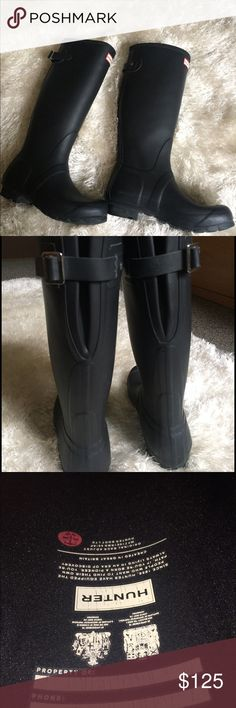 Hunter Boots, original ajustable matte black These are authentic hunter boots purchased from Akira in Chicago! I'm currently going away for school and need some spending money and I don't wear these. They're in near perfect condition!! Feel free to to make an offer as I'm a struggling college student! Will ship next or same day! FYI these run big, I'm a 7 and these fit like at 7.5-8. I'll also post more pics if you ask😊 Hunter Boots Shoes Winter & Rain Boots