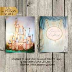 Princess Wall Art, Princess Nursery, Nursery Wall Art, Girl Nursery, Castle Wall, Name Art, Wall Art Prints, Original Artwork, Shops