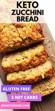 This low carb and keto zucchini bread is made with almond flour and is perfectly moist. Walnuts blueberries or chocolate chips can be added for extra flavor and crunch. I also give instructions for freezing and making muffins. Mini Desserts, Low Carb Desserts, Low Carb Recipes, Cooking Recipes, Bread Recipes, Dessert Recipes, Healthy Recipes, Lowest Carb Bread Recipe, Low Carb Bread