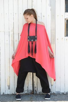 Red Tunic / Long Red Top / Asymmetric Tunic Top / by Metamorphoza