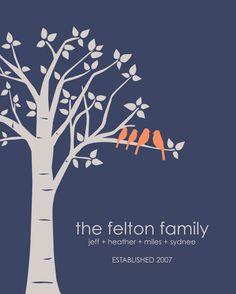 Personalized Custom Love Birds Wedding Family Tree Art Poster Print - 16x20 Print