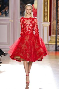Red lace dress by Zuhair Murad