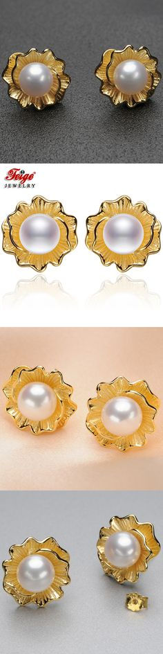 FEIGE High Quality 7-8mm White Freshwater Pearl Earrings Genuine Golden color 925 Sterling Silver Earring Female Pearl Jewelry