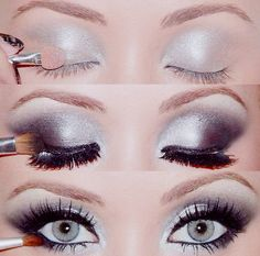 simple silver smokey eye....holiday perfection!!! Christmas eye make up!