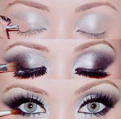 simple silver smokey eye....holiday perfection!!! Christmas eye make up!