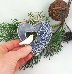 Heart and bird ornament ceramic bird heart bird Christmas ornament bird on a heart gift bird lover pottery anniversary valentine heart Bird Christmas Ornaments, Christmas Clay, Clay Ornaments, Angel Ornaments, Vintage Ornaments, Vinyl Ornaments, Ceramic Christmas Decorations, Christmas Mantles, Homemade Ornaments