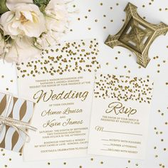 How gorgeous is this wedding invitation and rsvp card from The Spotted Olive? The gold glitter confetti looks so real you'll swear you can pick them up! Find them here; http://lemonleafprints.com/wedding-invitations-glamorous-glitter-look-confetti-dots.html