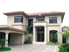 Dream House Exterior, House Paint Exterior, Exterior House Colors, Model House Plan, My House Plans, Dream Home Design, Modern House Design, Double Storey House, Spanish House