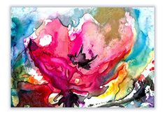 COLORFUL BLOOM 3 Original Abstract Floral Watercolor painting EBSQ ACEO ACETSY…