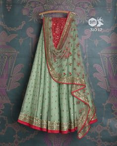 SMF LEH 310 17 | Seafoam sequin lehenga with floral threadwork dupatta and gold sequin blouse (SOLD)