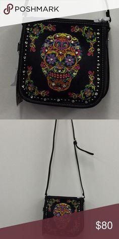 Cross body bag Leather sugar skull cross body bag Bags Crossbody Bags