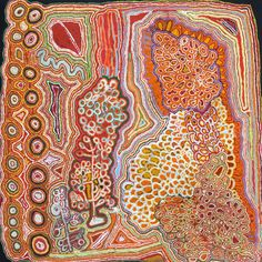 Jimmy DONEGAN / Pukara  183 x 183cm   This story is about kaliny-kalinypa (honey grevillea plant), which Anangu (the term for people in Pitjantjatjara) use as a type of bush lolly, sucking the nectar out of the plant.