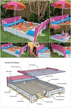 Summer will be arriving soon and for that time sandbox is a great idea for kids' outdoor playtime. So here you go for some DIY sandbox ideas: A Pallet Outdoor Projects, Projects For Kids, Diy For Kids, Diy Projects, Pallet Projects, Pallet Ideas, Backyard Play, Backyard For Kids, Outdoor Play