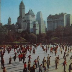 Got engaged there in 1998!!!  1950s Central Park Skating Rink ICE SKATERS vintage NYC photo New York City.