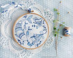 Sticker bleu bleu océan broderie main  kit de par TamarNahirYanai